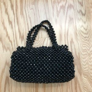 WALBORG Vintage Black Beaded Top-handle Bag